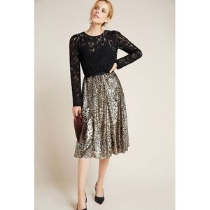 Anthropologie Maeve Orleans Sequin Midi Skirt